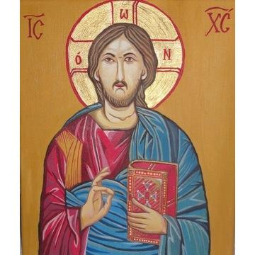 Obraz olejny - Jezus Chrystus Pantokrator / ikona