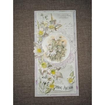Ręcznie robiona kartka z rumiankami moc życzeń