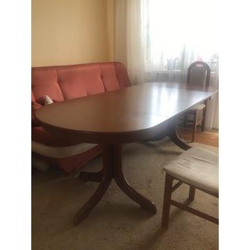 Pół okrągły stół, ciemne drewno, krzesła gratis!