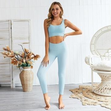 Zestaw na siłownię bezszwowy top + legginsy XS-S