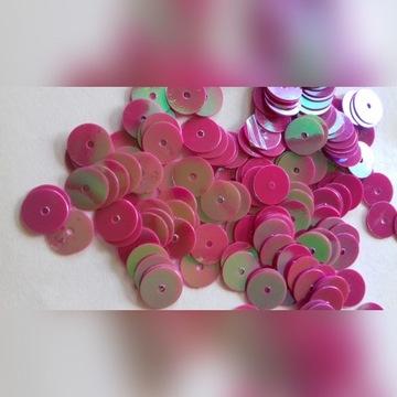 Cekiny laserowe płaskie 8mm 10g różowe