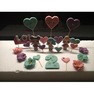 Śliczna cukrowa dekoracja na tort laleczki LOL