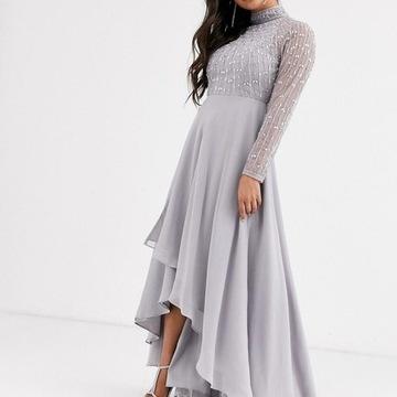Asos petite sukienka zdobiona asymetryczna XL