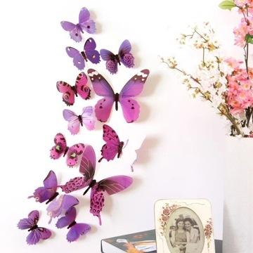 Motyle fioletowe 12 sztuk