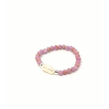 Pierścionek elastyczny różowy fosfosyderyt perla