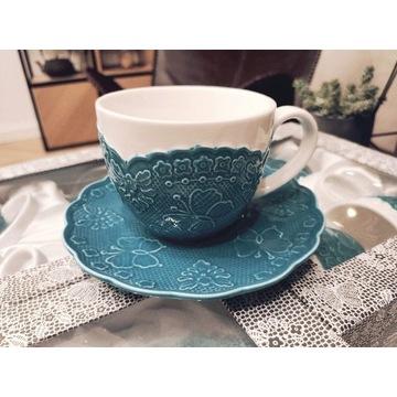 Zestaw kawowy 6 filiżanek i talerzyków turkusowy