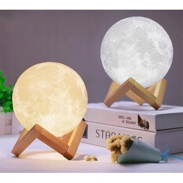 LAMPKA NOCNA ŚWIECĄCY KSIĘŻYC MOON LIGHT 3D 13CM