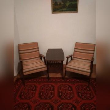 Komplet wypoczynkowy, kanapa, fotele, stolik retro