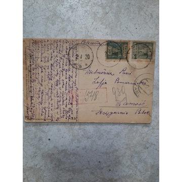 KARTKA POLECONA 548 NR WARSZAWA ZAMOŚĆ 1920R