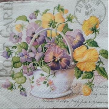 Serwetka decoupage 3 szt bratki bukiet kwiaty