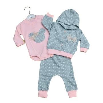 Komplet dla niemowlaka 56 bluza+spodnie+body 3w1