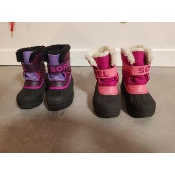 Sorel buty zimowe 29: 2 pary, ocieplane śniegowce