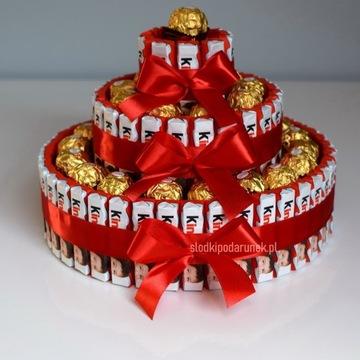 Tort z czek Kinder, Ferrero Rocher na prezent XXL