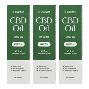3x Green Leaf CBD Oil 5% - Czysty Olej Konopny