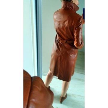 Vintage lata 70te płaszcz skórzany karmel