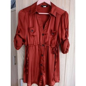 Ciążowa tunika satynowa ruda długa sukienka 36