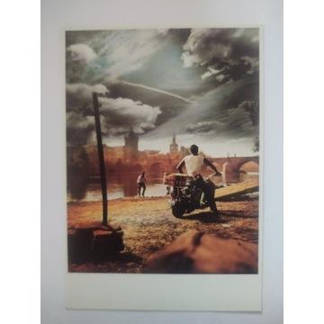 Pocztówka Jan Saudek  Hey Joe! Motocykl