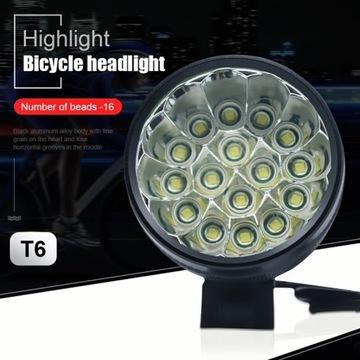Lampka rowerowa 16 Led XM-L2 16 000 lm Czołówka