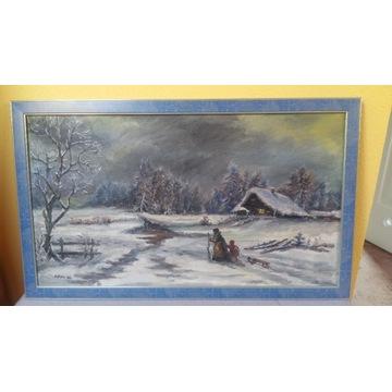 Obraz malowany na płótnie -  H.Beśka 1964r.
