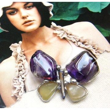 Prezent handmade: Broszka motyl ametyst jadeit