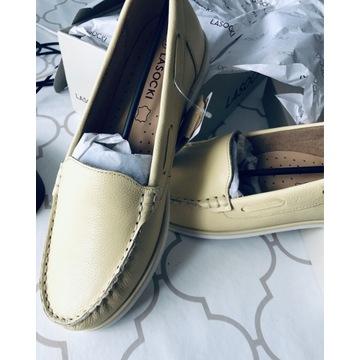 Nowe buty Lasocki 39, skórzane, kanarkowe
