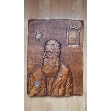 żyd liczący pieniądze, portret, lipa ,rekodzieło