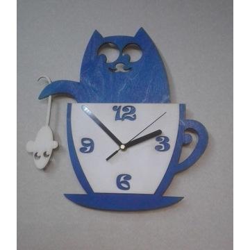 Zegar ścienny kot z myszką w filiżance drewno
