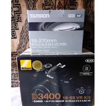 Nikon D3400 z obiektywem Tamron 18-270mm Di II VC