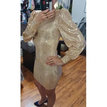 Sukienka z bufkami cekinowa imprezowa świecąca