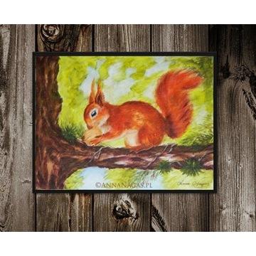 Wiewiórka Kwiatów Obraz Dziecka Ręcznie Malowany