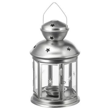 IKEA ROTERA latarenka, lampion  21cm kolor srebrny