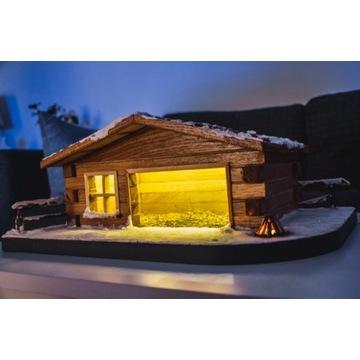 Szopka Bożonarodzeniowa duża drewniana lite drewno