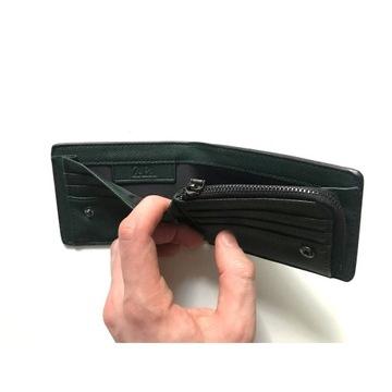ZARA, portfel męski, czarny / zielony (NOWY)
