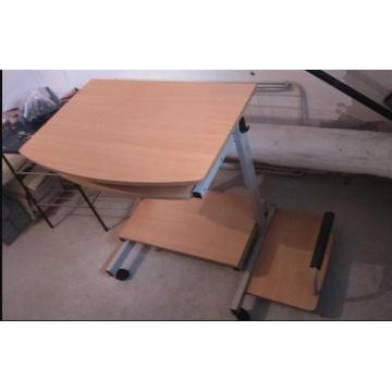 Biurko pod komputer z półkami pod klawkę i myszkę