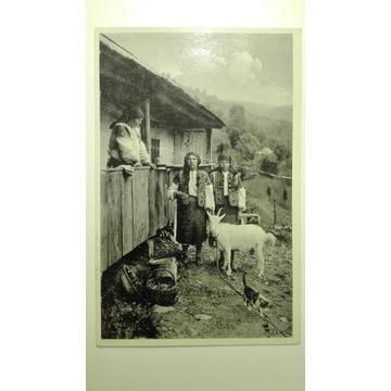 Koza, kobiety, kot, pocztówka, Czechosłowacja