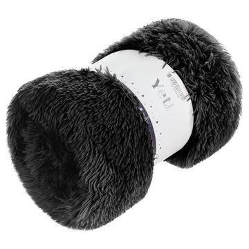 Koc narzuta 200x220 Yeti włochacz czarny futrzak