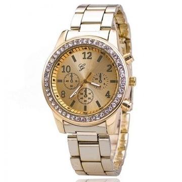 Luksusowy zegarek z cyrkoniami LICYTACJA  od 1 ZŁ