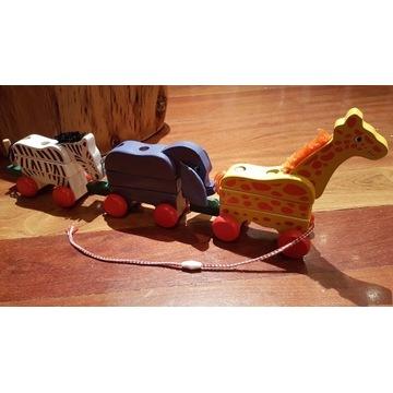 Drewniana zabawka kolejka układanka