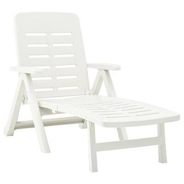 Składany leżak, plastikowy, biały okazja 50% ceny