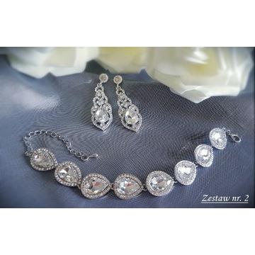 Komplet biżuteria ślubna wieczorowa cyrkonie Z2