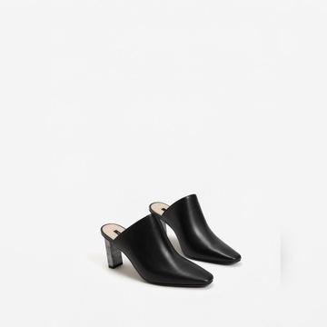 Mango Mule/ klapki/sandały czarne skóra 39