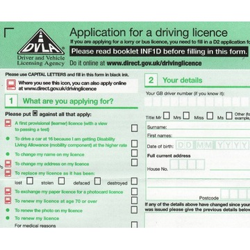 papierowy formularz DVLA D1 UK driving licence