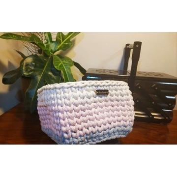 Koszyk pleciony ze sznurka bawełnianego HandMade