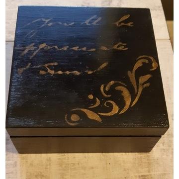 Pudełko ozdobne rękodzieło czarne złote vintage