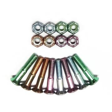 Kolorowe śrubki montażówki do deskorolki KOMPLET