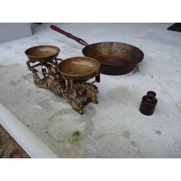 antyczna miedziana/brązowa patelnia