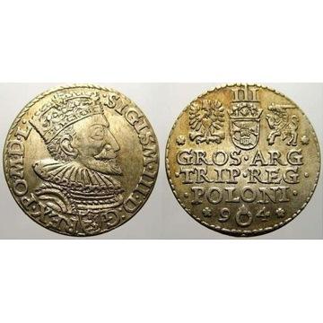 Trojak 1594 Malbork R3 PIĘKNY RZADKOŚĆ