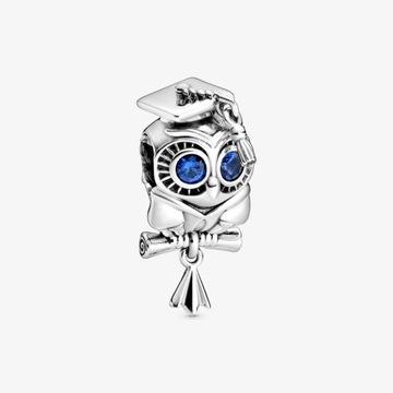 Pandora oryginalny charms mądra sowa absolwenta