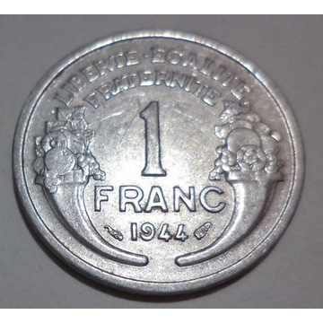 Francja 1 franc frank 1944 Morlon