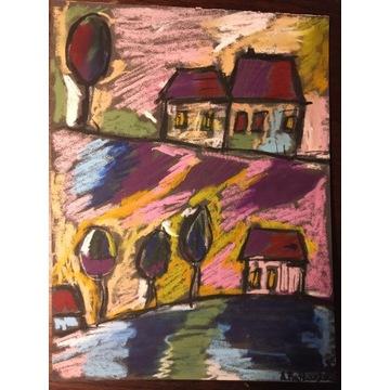 Art naïve - Pejzaż op. 24 pastel olejny